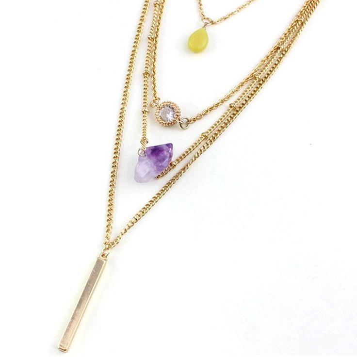 Многослойные Заявление Ожерелья для Женщин 2016 Новый Женский Лето Ювелирные Изделия Золотая Цепь Длинные Слоистые Бар Ожерелья и Кулоны