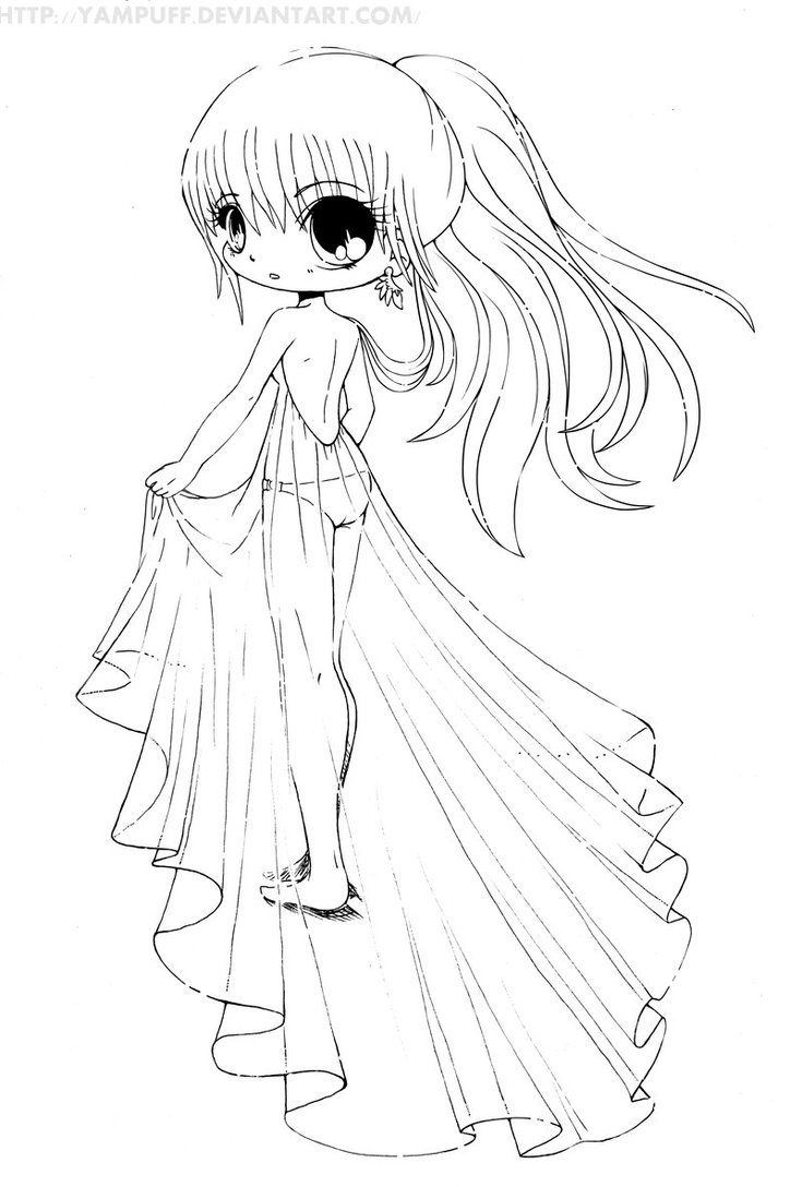 Chibi Girl Coloring Pages (With images) Mermaid coloring