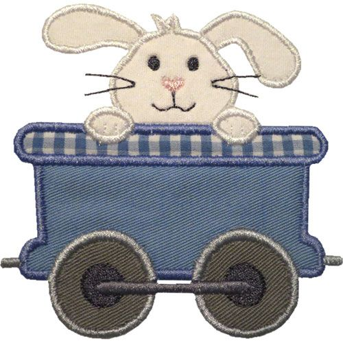 Train Car Bunny Applique by HappyApplique.com