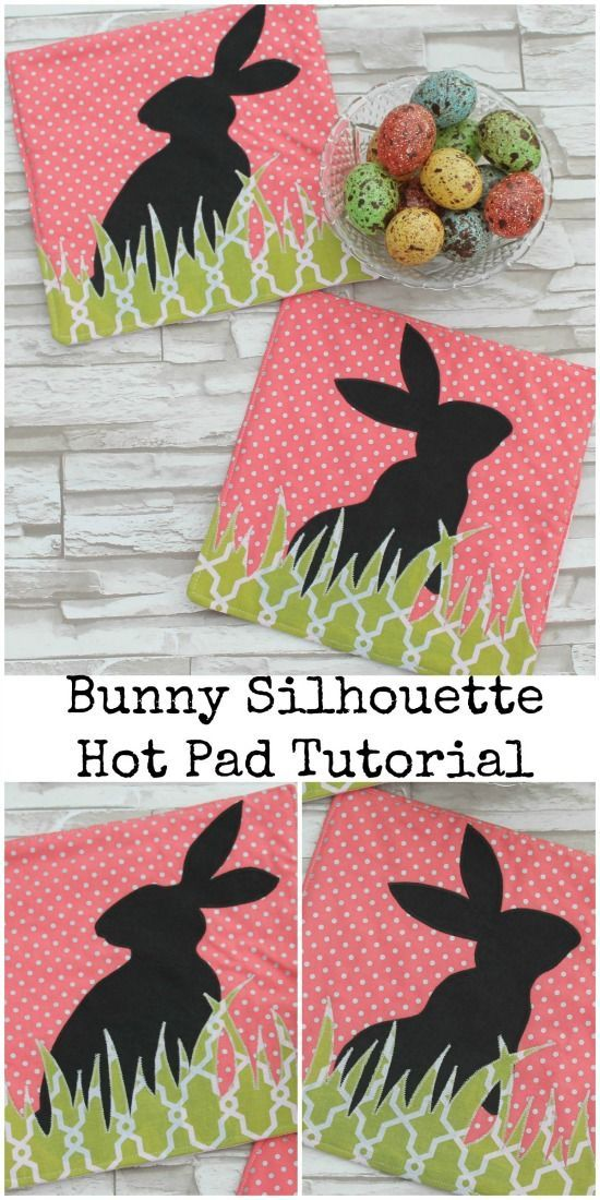142 best easter images on pinterest easter easter ideas and bunny silhouette hot pad tutorial friends stitched together for so sew easy negle Images