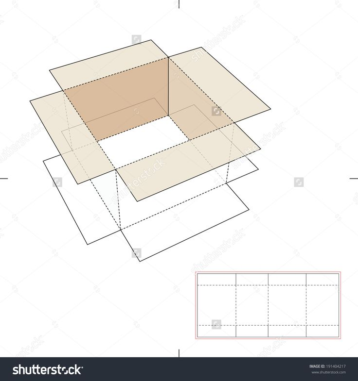 Cardboard Separator Box With Die Cut Layout Stock Vector Illustration 191404217 : Shutterstock