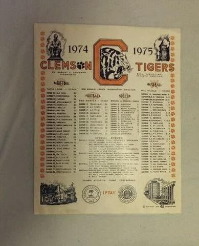 Clemson Tigers collectible RARE IPTAY sports score poster 1974/1975 | #540698039