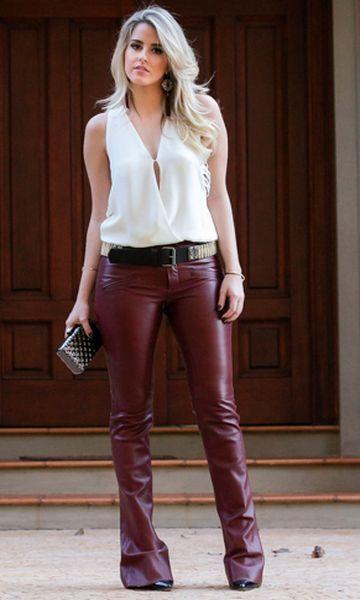 Look: Regatinha + Leather Pants