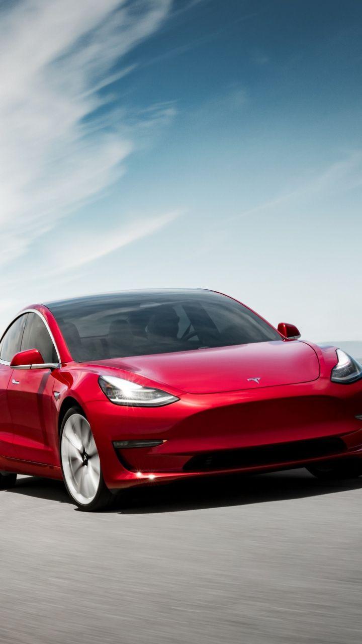 Tesla Model 3 On Road Red 720x1280 Wallpaper Model Car