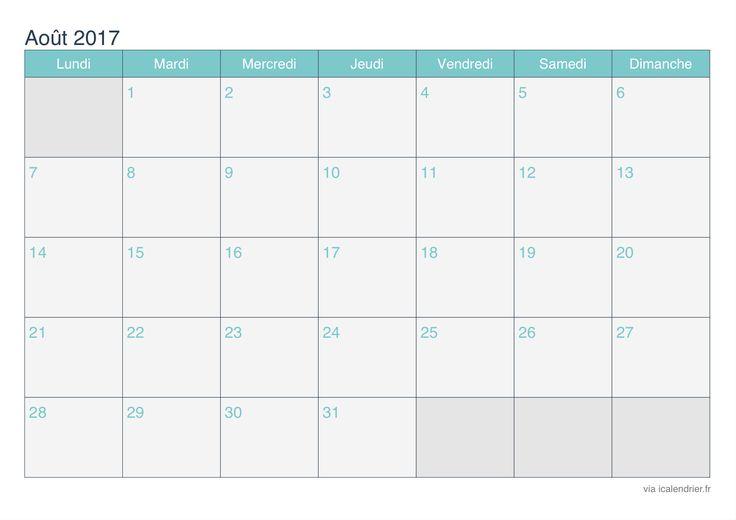 Calendrier de aout 2017 - turquoise