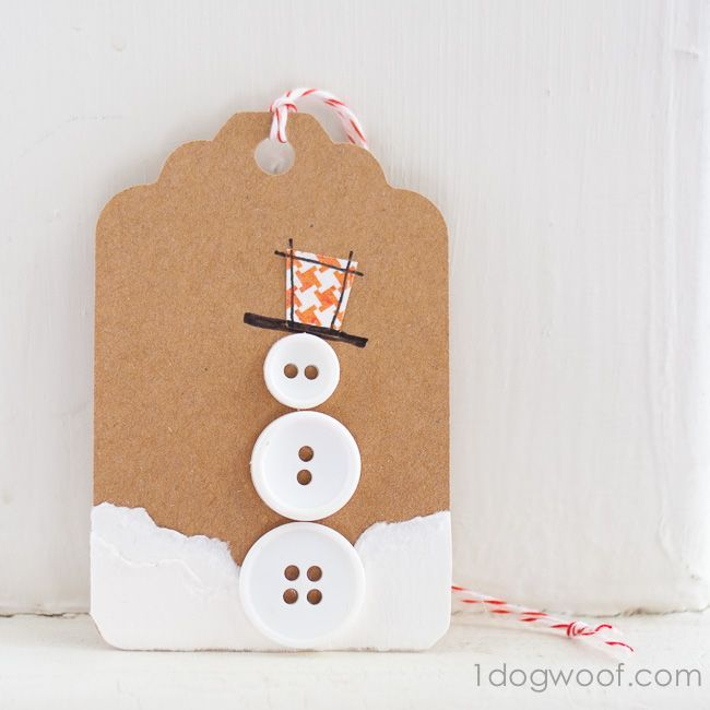 One of my favorites out of this collection of DIY gift tags is my button snowman tag, sitting in the snow!