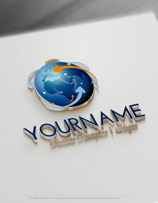 Design Free 3D Network Globe Online Logo Templates Ready made Online 3D Logo Template Decorated with an image of three-dimensional globe Earth And a network of arrows surrounding it. This professional 3D logos excellent for consulting, Global International company, High Tech, Travel, cargo, airline company, management, Computer company, hosting company and web servers etc, . How to design free logo online? 1-