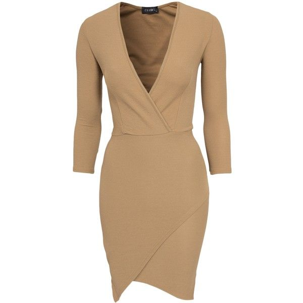 Club L Essentials Asymetric Wrap Bodycon Dress (£20) ❤ liked on Polyvore featuring dresses, camel, party dresses, womens-fashion, long sleeve bodycon dress, beige dress, bodycon cocktail dress, wrap cocktail dress and body con dress
