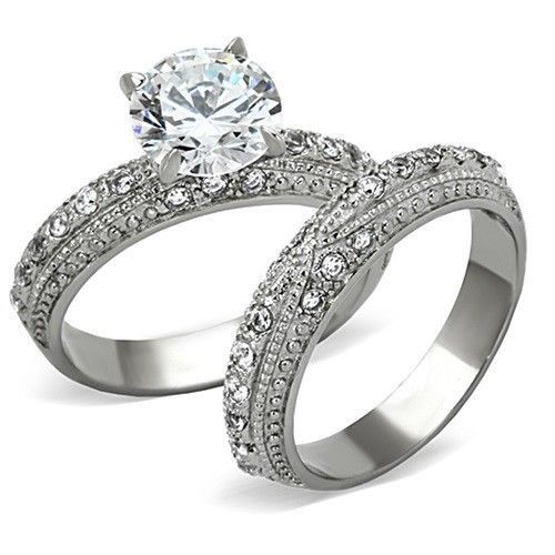 antique inspired 335 ct stainless steel cz engagement ring wedding band 5 10 - Affordable Wedding Ring Sets