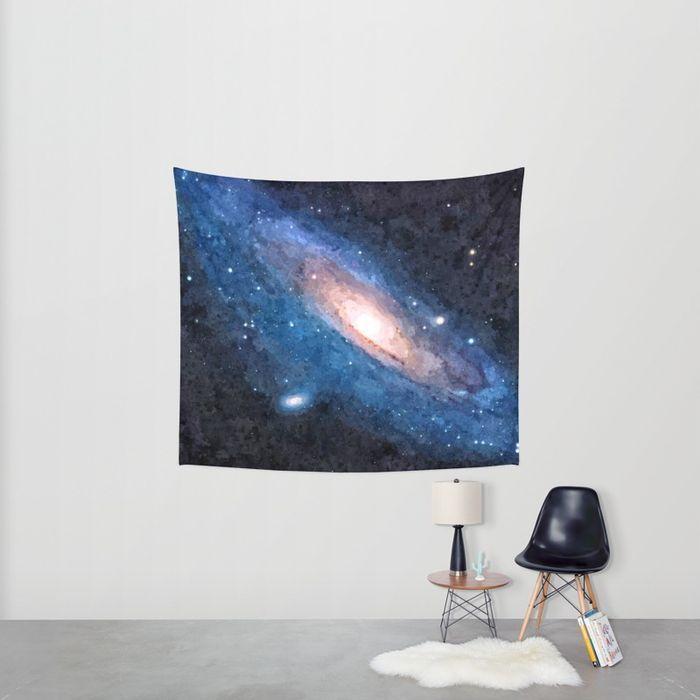 Blue nebula, colorful galaxy, deep space, stars on dark sky, cosmic, Andromeda