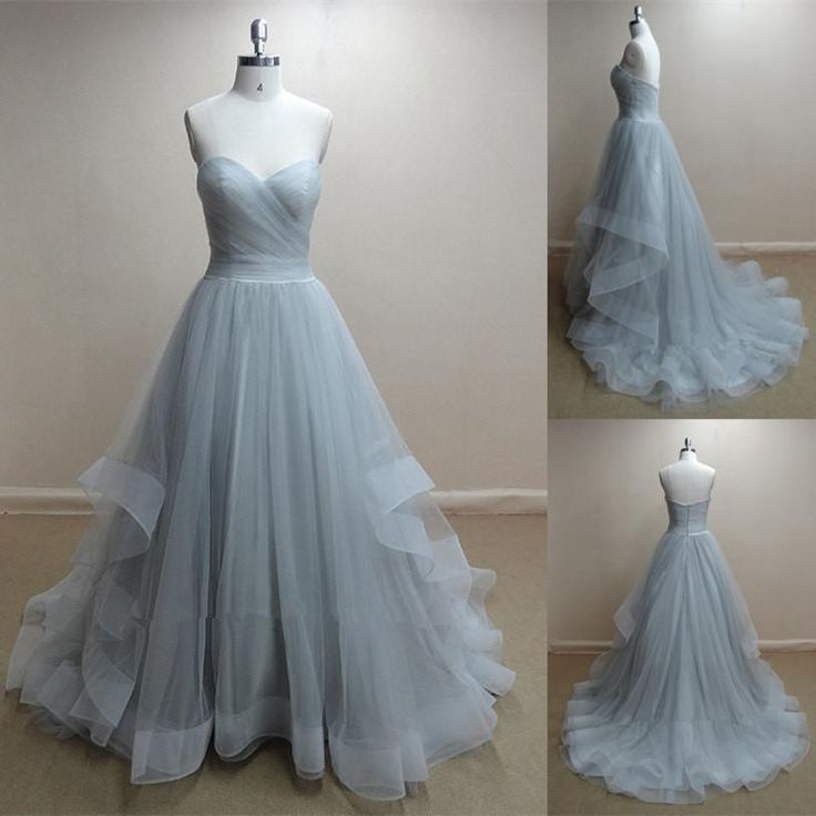 Actual Image Dusty Blue Long Tulle Prom Gowns 2015 Pleats