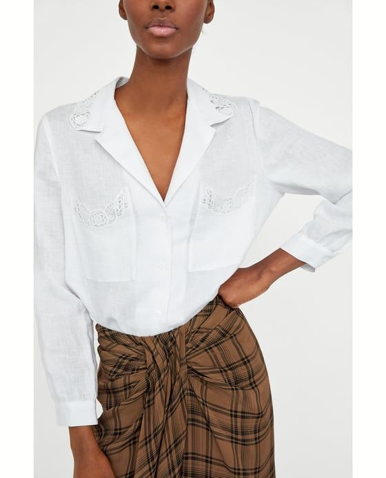 LINEN SHIRT WITH LACE from Zara