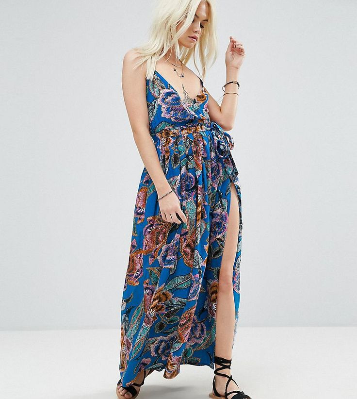 ASOS PETITE Woven Wrap Maxi Beach Dress in Oversized Bright Tapestry -