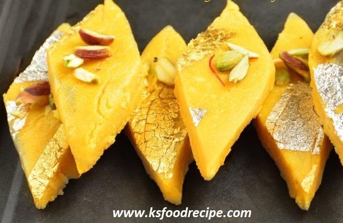 How to make Indian Mango Burfi (Peda Mithai)   Mango Mawa Barfi is a super delicious Indian recipe served as a Dessert & treat for mango lovers. Learn how to make mago barfi in simple steps in this recipe. http://www.ksfoodrecipe.com/mango-burfi-peda-mithai-indian/ #Mangoburfi #Burfi #ksfoodrecipe