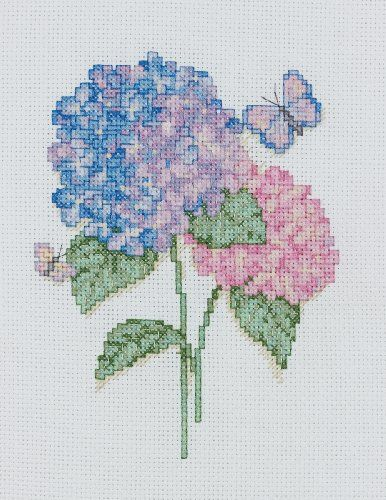 Bucilla 45525 Counted Cross Stitch Picture Kit Mini, Hydrangeas