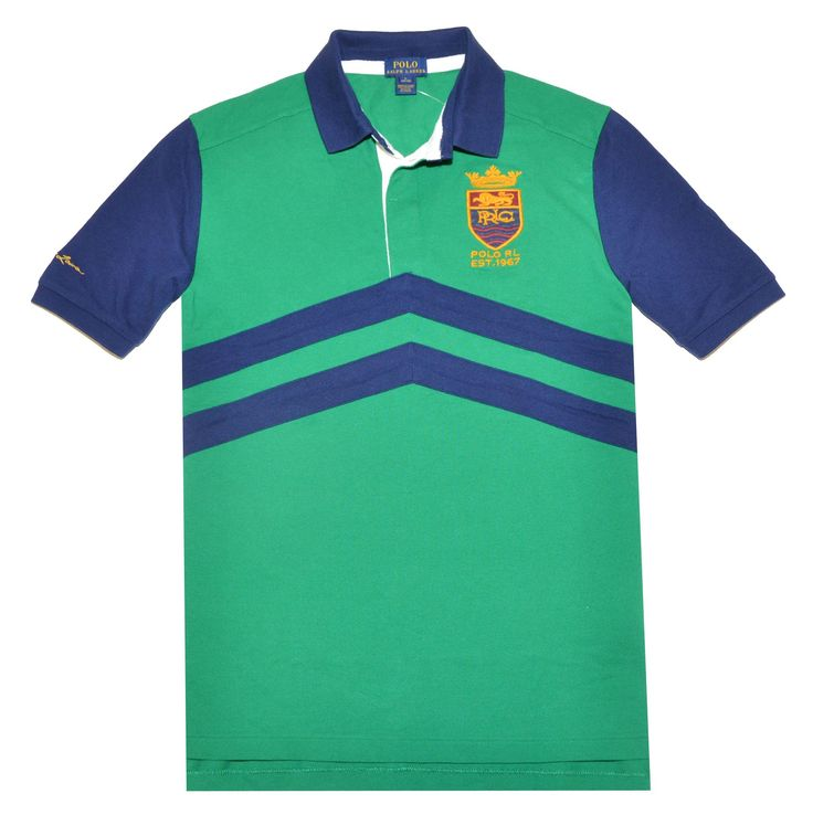 """Polo Ralph Lauren Boys Chevron Stripe Polo Shirt (XL(18/20), English Green/Navy). Polo Ralph Lauren Boys Chevron Stripe Polo Shirt. Ribbed polo collar. Three-button placket. Short sleeves with ribbed armbands. Embroidered """"PRLC"""" crest at the left chest. 100% cotton. Machine washable. Imported."""
