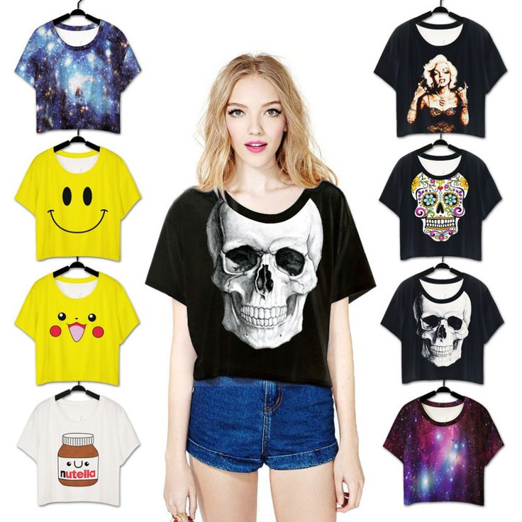 >> Click to Buy << OPCOLV Women Sexy Loose Half Section 3D Tshirt Print Skull/Weed Leaf T-Shirt Female Harajuku Marilyn Monroe T Shirt #Affiliate