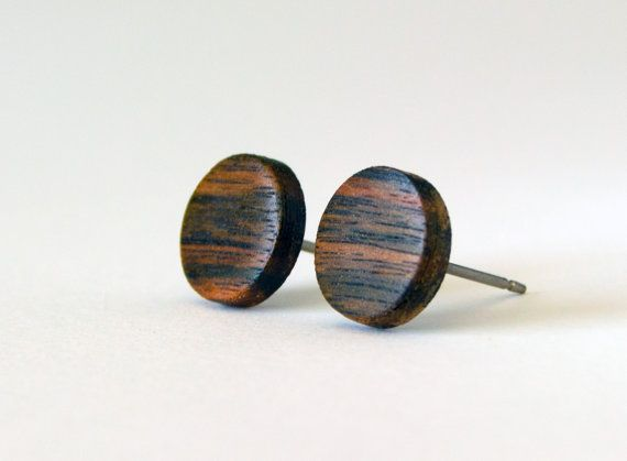 Ebony Wood Studs, wood earrings, unisex, mens stud earrings, wood stud earrings, Macassar Ebony, wood post earrings, natural wood studs