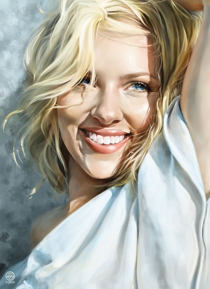 """Scarlett Johansson Portrait"" - Catherine Steuer, Photoshop and Wacom Bamboo, 2015 {figurative realism art beautiful blonde female head celebrity smiling woman face digital painting}"