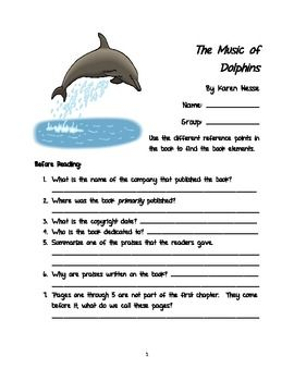 Reading The Music of Dolphins by Karen Hesse in your class? Here is a student comprehension guide to follow along with the book.  The packet breaks the reading down into parts with comprehension and critical thinking questions for each section, essential book elements, a vocabulary page, articles on other feral children, and an ending book project where the students get to choose one of four projects!