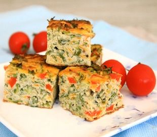 Pretty as a picture, this veggie slice is packed with colour and nutrients. Gluten free, dairy free and loaded with veggie goodness.