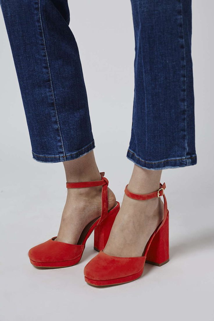 Finish your outfit with an edge in these chunky platforms. Perfect to wear from day-to-night, they are crafted from a bright red suede and finished with an ankle fastening. Comes with a lush padded sole for comfort. #Topshop