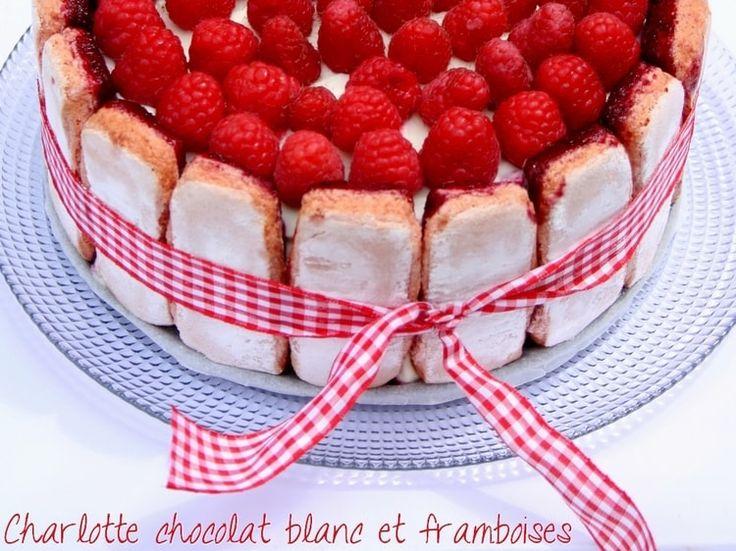 Charlotte au chocolat blanc et framboises