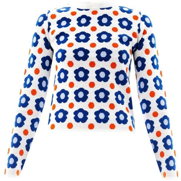 J.W. ANDERSON Floral intarsia knit sweater (19.160 RUB) ❤ liked on Polyvore featuring tops, sweaters, jumpers, blue white, knitwear, boxy sweater, knit jumper, long sleeve knit tops, long sleeve sweater and polka dot sweaters