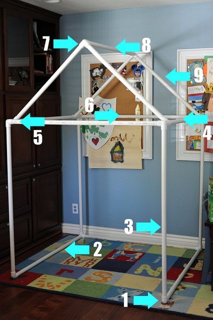 My grand boys need this PVC playhouse.  Pinner says:  Ok, so I didn't do this, but my sister made it for my kids for Christmas and the LOVE it! It's so easy to put together and she also made a bag to store it in out of old jeans! Did I mention that my kids LOVE this thing? :)