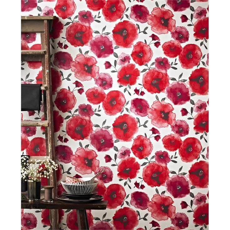 Superfresco Easy 52cm x 10m Poppies Red Wallpaper #floralwallpaper #watercolour #soft