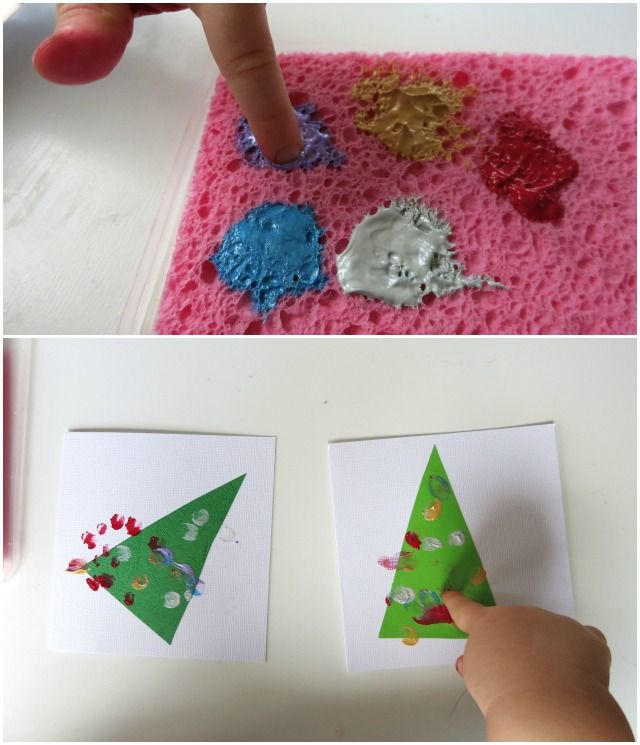 Toddler Made Christmas Tree Cards: