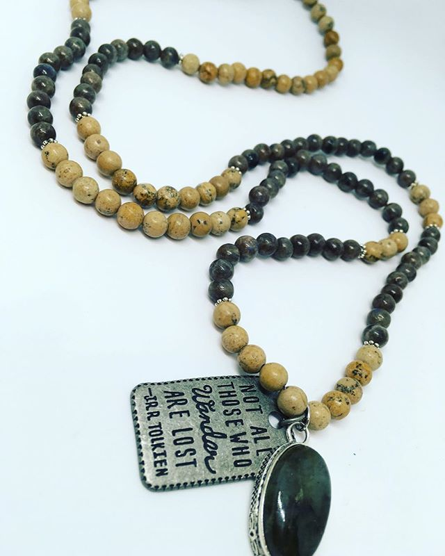 Another new addition to The Urban Gypsy ~ The Wanderlust Mala $70 📿handcrafted with a Labradorite Guru pendant, Picture Jasper and Labradorite beads. Come see the new collection at the Spring Curated Market March 10 & 11th. #theurbangypsy #yegartist #yegmade #edmontonartist #edmontonmade #malanecklaces #bycurated