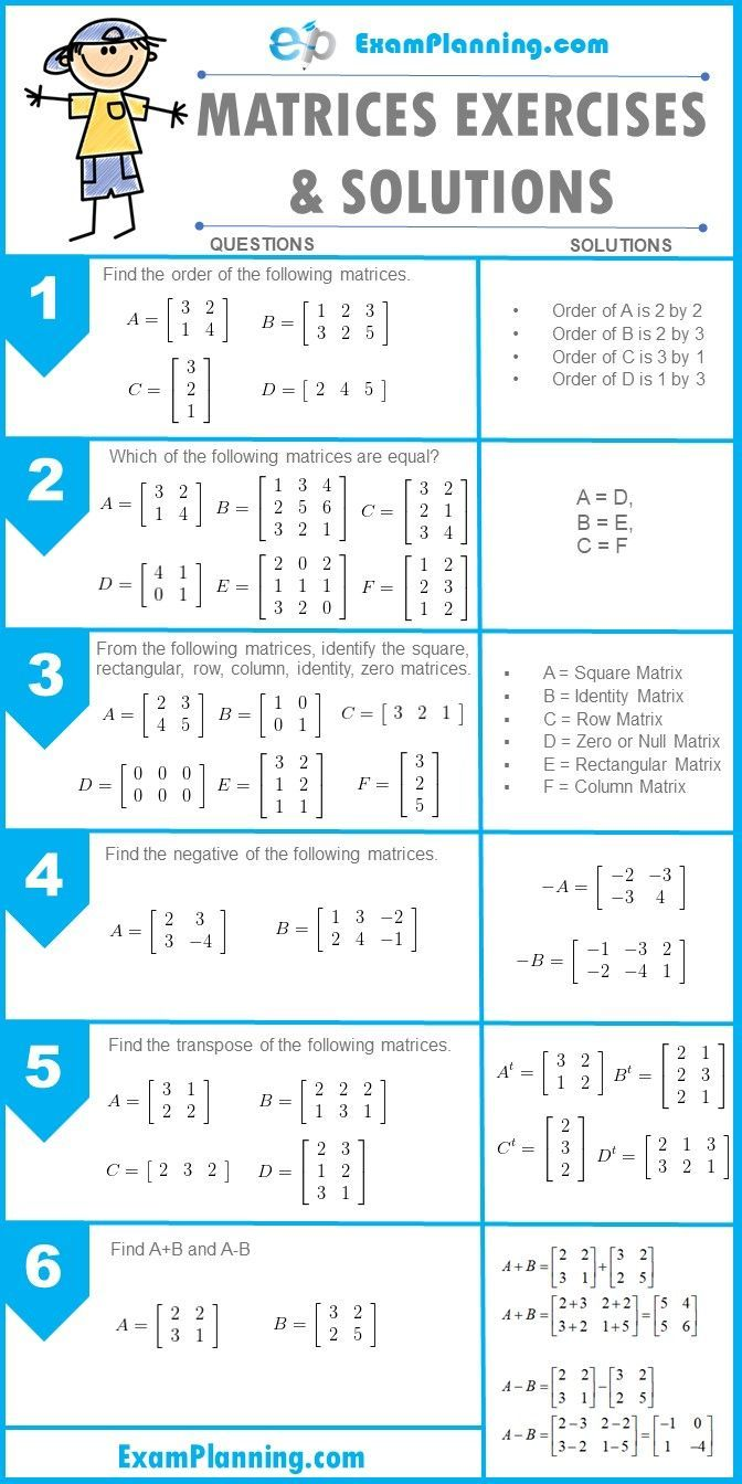 Matrices Exercises And Solutions Examplanning Matrices Math Learning Mathematics Basic Math