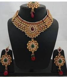 Vatika Antique Polki Bridal Necklace Set 3 Necklace @ www.mirraw.com
