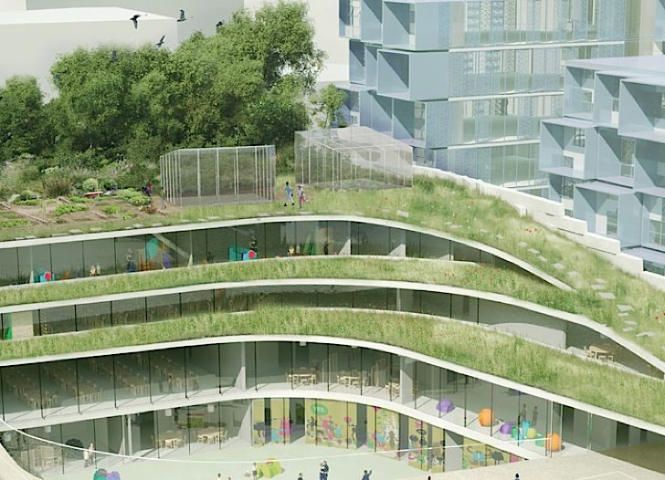 Former Renault Factory In France Becomes An Undulating Green Roofed School