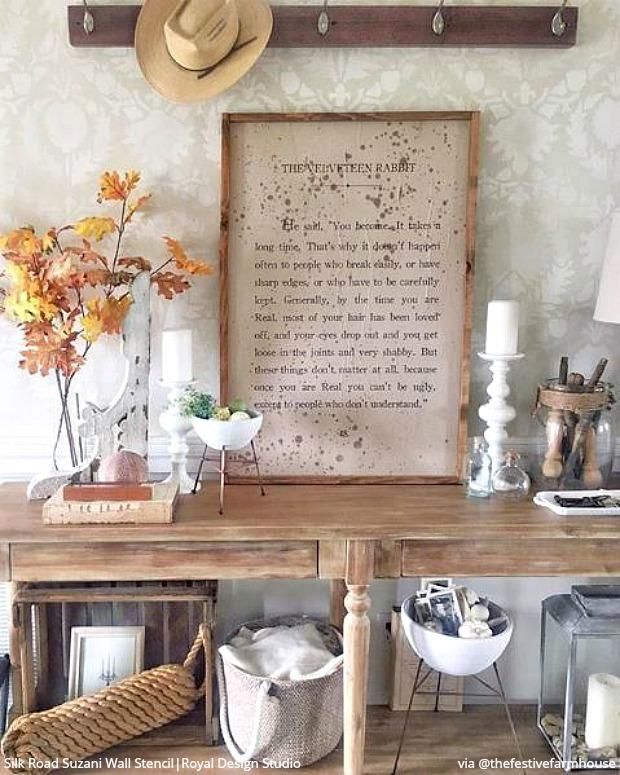 Passing Through Stencil Your Mudroom Foyer Or Entryway Shabby Chic Decor Diy Stencils Wall Wall Paint Patterns