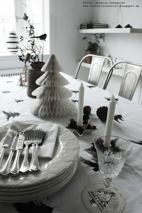 DIY: Julgranar på duk i svart och vitt