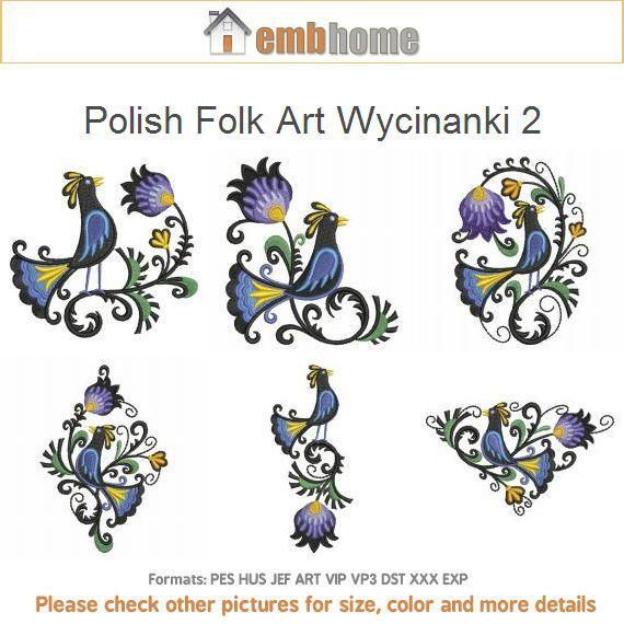 Polnische Volkskunst Wycinanki 2 Blumen Vogel Dekor Maschine Stickerei Designs Instant Download Pack 4 x 4 Reifen 10 Entwürfe APE1671