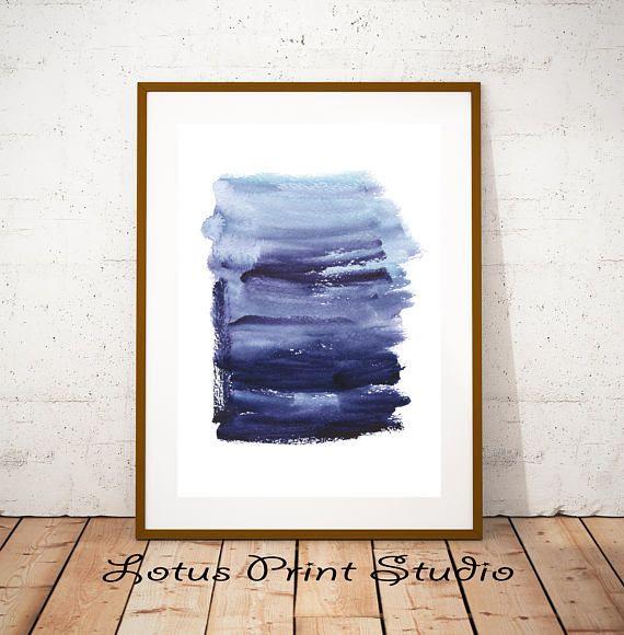 Watercolour Stripes Print Brush Strokes Blue White Decor