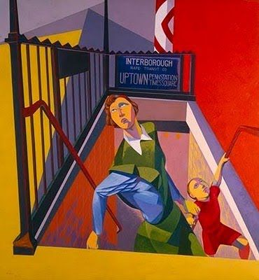 Osvaldo Louis Guglielmi (American painter, 1906-1956) Subway Exit 1946 Born in Cairo, Egypt, of Italian parents, O. Louis Guglielmi. The family soon moved to Italy lateron. In 1914, to the Harlem's Italian slum in New York City. Personal experience with homelessness, hunger, & society's unfortunates strongly affected young Guglielmi's art. He combined symbolism with manipulation of light, color, space, & scale. He also worked as a teacher. In his last years, he painted completely abstract…