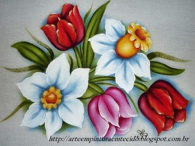 Pintura em Tecido Passo a Passo Com Fotos: Pintura em Tecido Flores Panos de Prato Tulipas e ...
