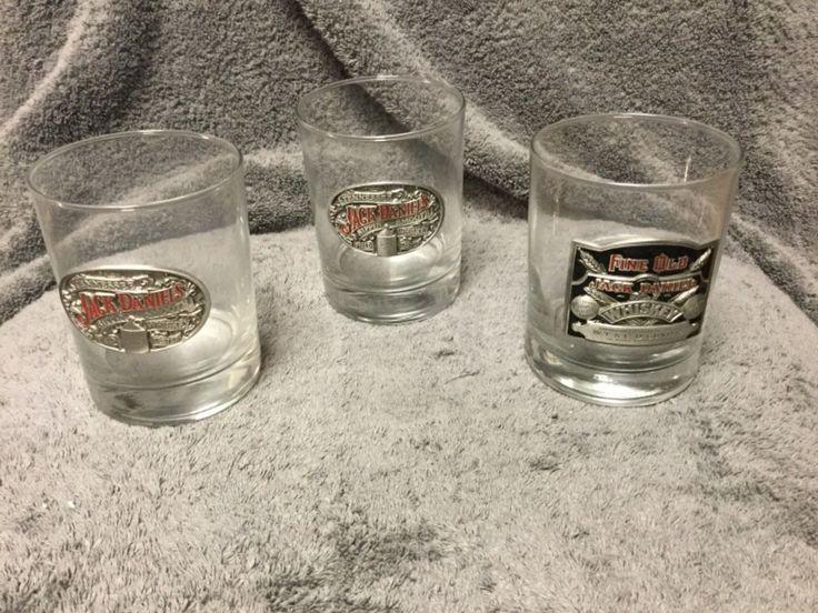 Set Of 3 Jack Daniels Bourbon Rocks Glasses With Pewter Emblem
