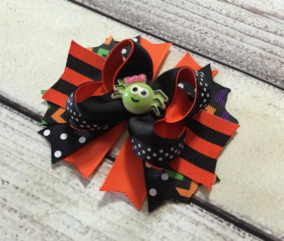 Hey, I found this really awesome Etsy listing at https://www.etsy.com/listing/472564471/halloween-hair-bow-halloween-spider-hair