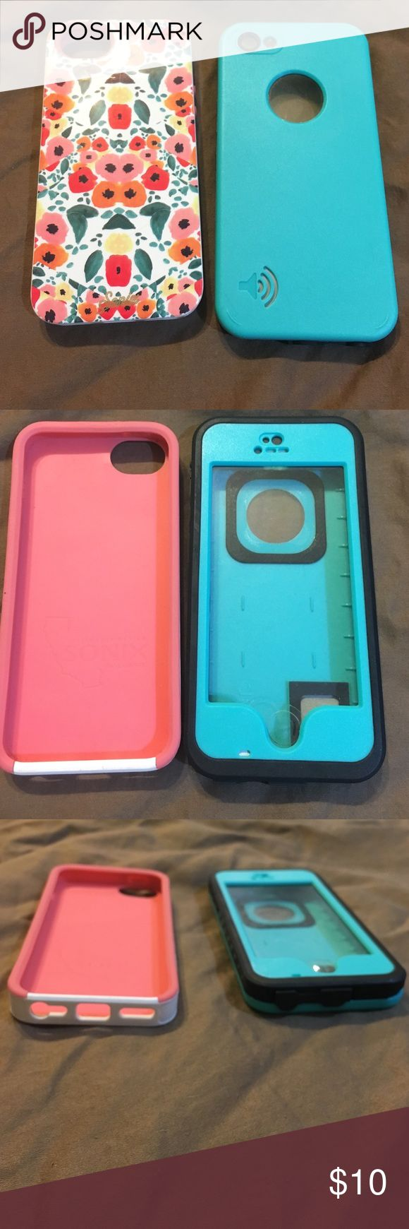 2 Phone cases for iPhone 5 iPhone 5/5s cases, case on left: Sonix by California Design; case on right: Favolcano case in Teal: waterproof and very durable. Both for sale for only $10! Accessories Phone Cases