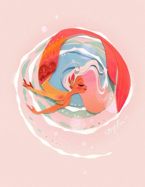 Pink Waves Mermaid Print por britsketch en Etsy, $20.00