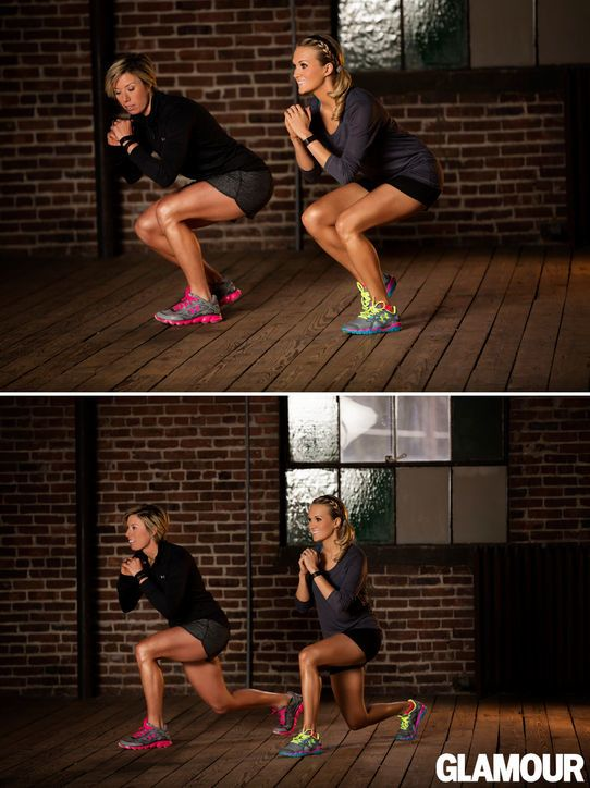 Squat down on your left leg, right toes just touching the floor for balance. Without standing up, move your right leg back into a lunge. Keep your left leg bent and return your right leg to starting position. Do 15 reps, then repeat on the other side. via StyleList