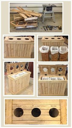 20 Pallet Projects You Ought To Try This Summer. The container shown is a great idea for garbage, recycling and composting.