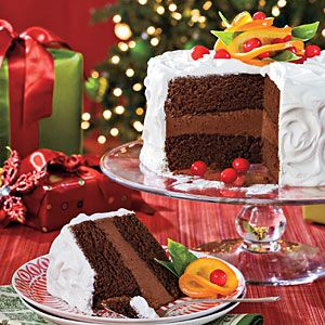 Cover Cakes of Christmas Past | Chocolate-Citrus Cake With Candied Oranges | SouthernLiving.com: Layered Cakes, Christmas Desserts Recipes, Chocolates Cakes, Christmas Cakes, Candy Orange, Orange Recipes, Cakes Recipes, Citrus Cakes, Chocolates Citrus