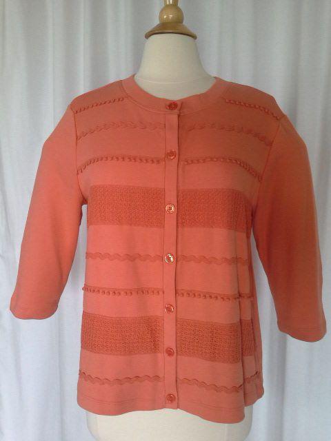 SIZE PL - New $50.00 REBECCA MALONE Petite Soft Burnt Orange Cardigan…