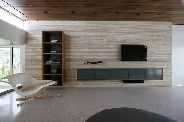 Wall-mounted shelves accentuate the clean and well defined lines